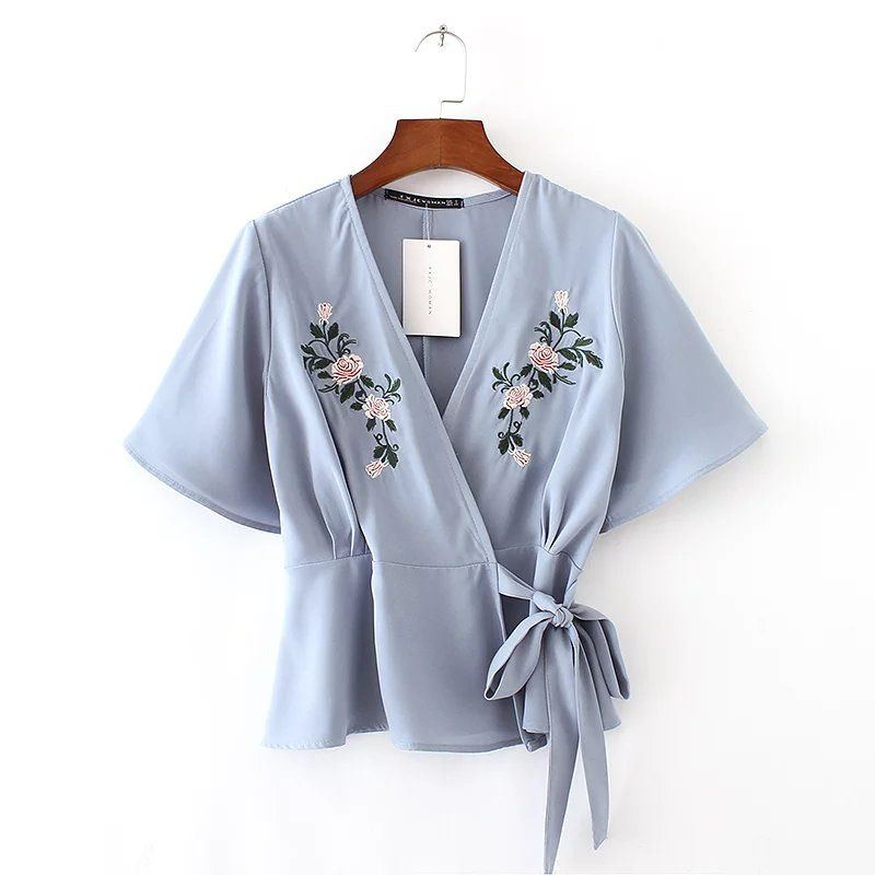 2017 spring and summer new V-neck embroidery kimono short-sleeved blush blush blossom down jacket women