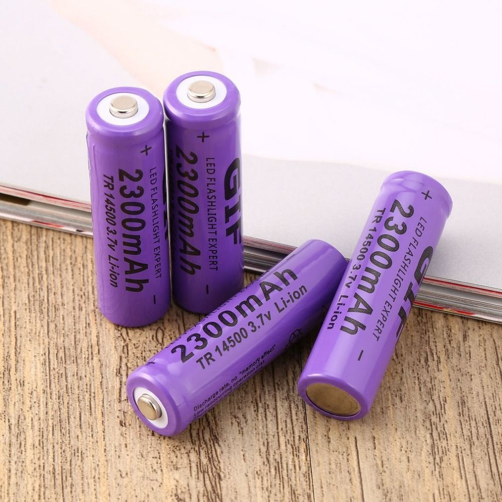 4 pcs Purple 14500 3.7 V 2300 mAh Li-Ion Rechargeable Battery