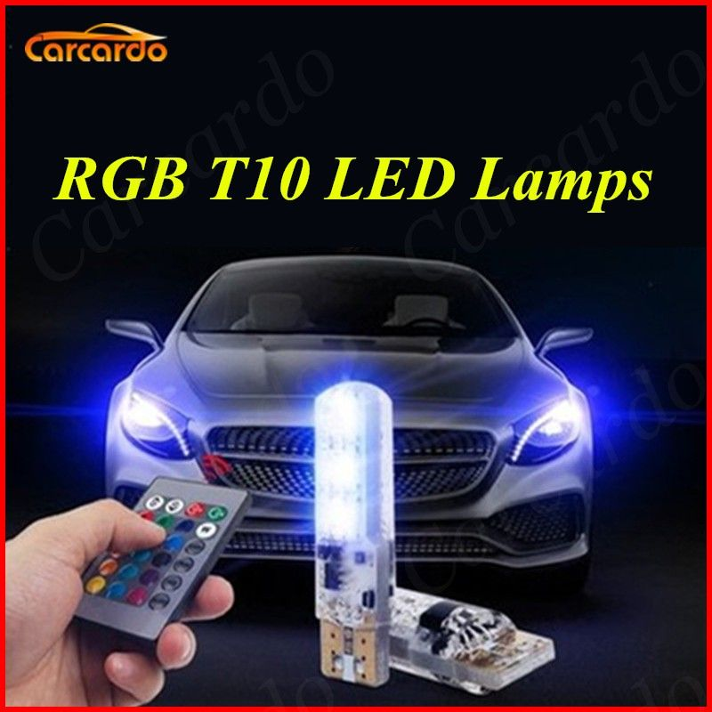 Carcardo 1 Set RGB LED T10 Bulb With Remote Control 5050 SMD Demo Light T10 W5W 194 168 LED Car Side Wedge Tail Lamp