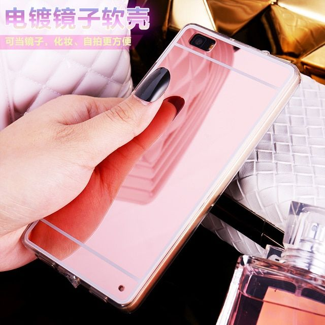 Crystal Fundas Soft Mirror Design TPU Back Cover Ha on For Huawei P8lite ALE-L21 ALE-L04 Stylish Light Phone Case Fashion Fundas