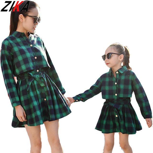 ZIKA Mother Daughter Dresses Fashion Long Sleeve Plaid Family Look Matching Clothes Mom And Daughter Dress Family Clothing