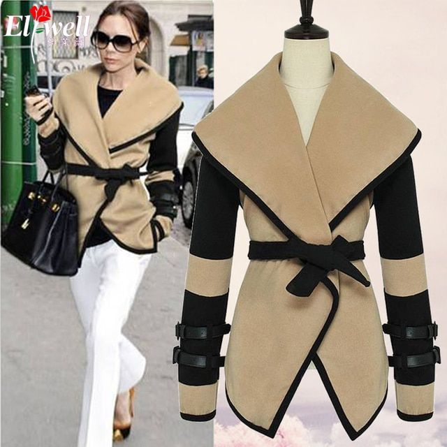 2017 spring Women Designer Fashion Celebrity Style Victoria Beckham Wool Coats Women Winter Long Trench Three Crystal Yz