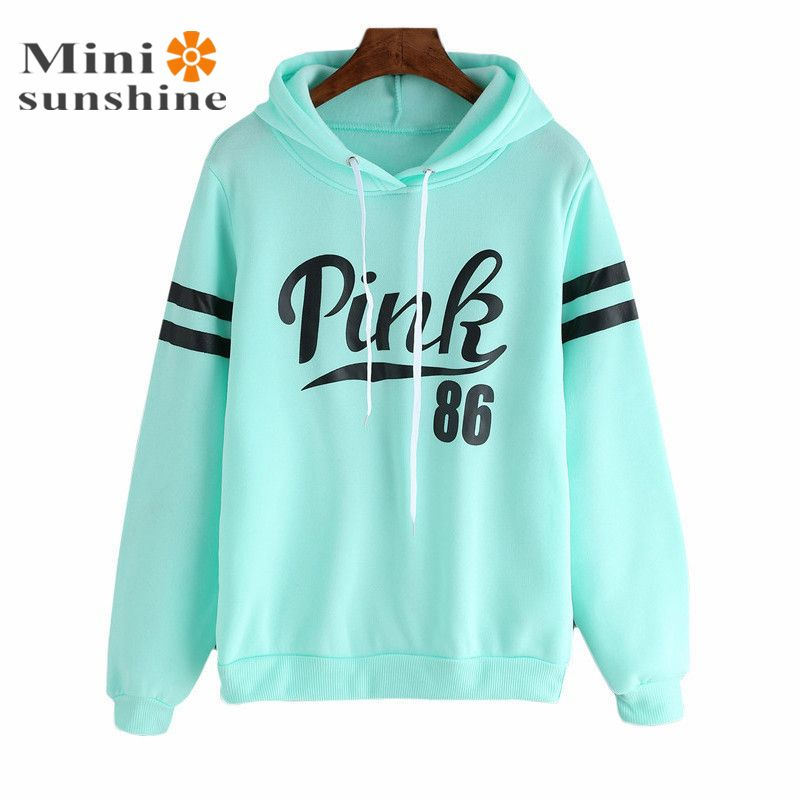 2016 Women Hoodies Sweatshirt Long Sleeve Pink Casual Harajuku Casual Hoodies for Women Pullovers Sweat Shirt Sudaderas Mujer