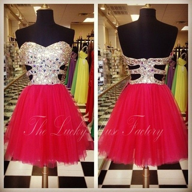 Charming Short Mini Cocktail Dress Sequined Red Tulle Prom Dress Above The Knee Homecoming Dress Robe Cocktail Courte Chic