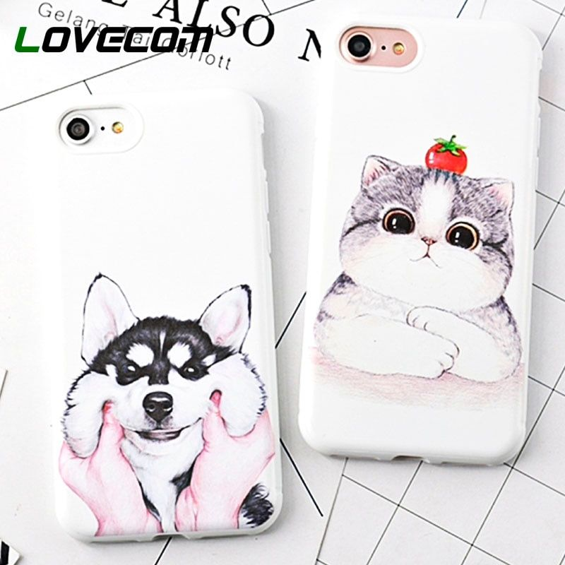 LOVECOM Cat & Dog Case For iPhone XS Max XR XS 6 6S Plus 7 8 Plus X Cell Phone Cases Soft TPU Cartoon Back Cover Coque Gifts