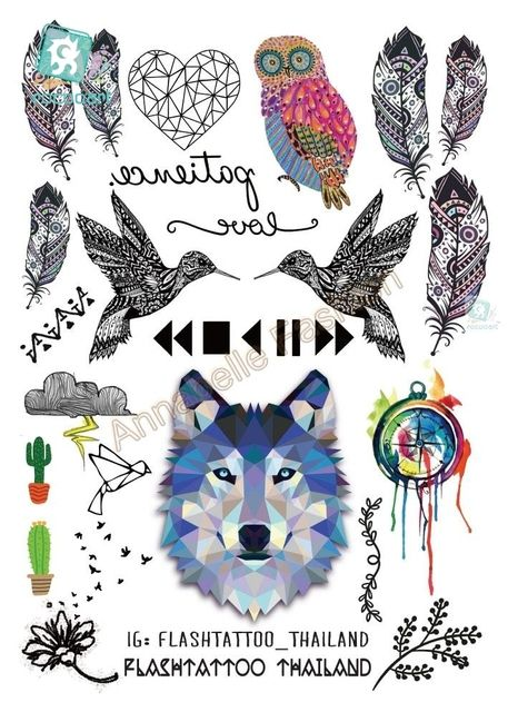 Rocooart 6080-208 Big Black tatuagem Taty Body Art Temporary Tattoo Stickers Gradient Colorful Wolf Owl Birds Tatoo Sticker