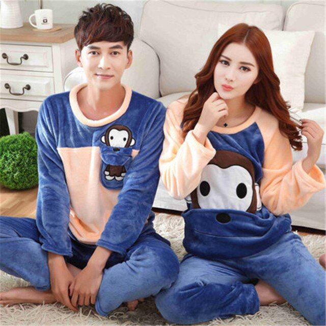 Winter Coral Fleece Flannel Pajamas Cartoon Couple Long Sleeved Lovely Women Pajamas Men Wear Thick Warm Home Furnishing