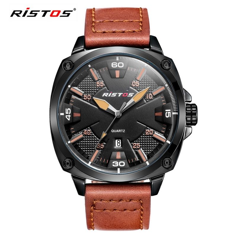 RISTOS Sport Military Men Watch Luxury Brand Quartz Watches Mens Sports Waterproof Clock Male Leather Casual Wristwatches