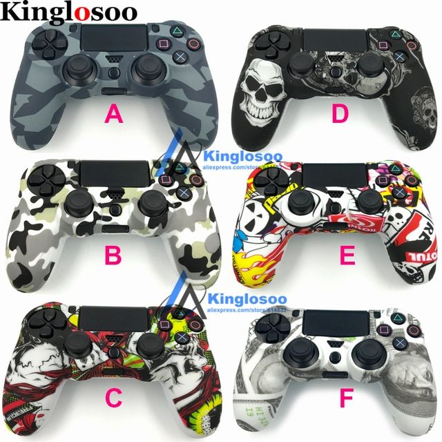 Decals Camo Protective Silicone skin case Gel cover Soft rubber sleeve for Playstation 4 PS4 Controller PS4 Pro Slim