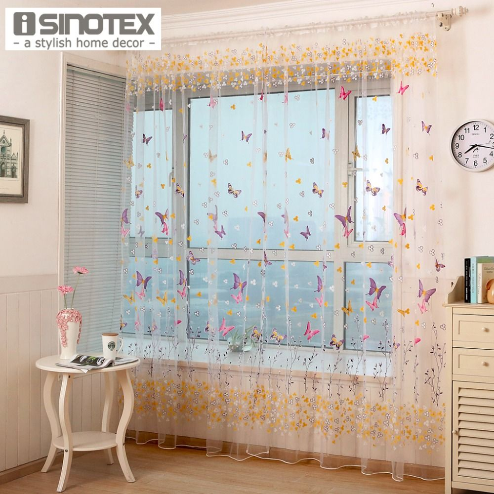 1PCS/Lot Window Curtain Butterfly Printed Tulle Voile Fabric Transparent Sheer For Home Living Room Screening