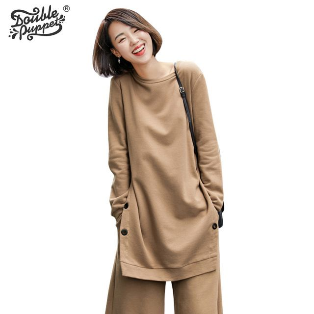 Double puppet new spring autumn top one Korean style contracted pullover tops thick long sleeve t-shirt  women  563005