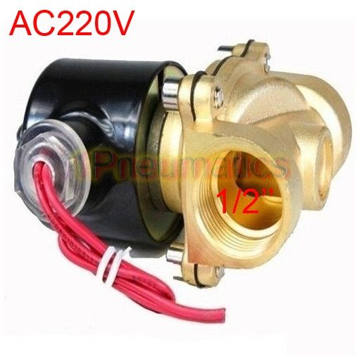 "Free Shipping Mail 2017 Year 2W160-15 N/C 2 Way 1/2"" Gas Water Solenoid Electric Solenoid Valve BRASS Water Air AC220V (SMALL)"