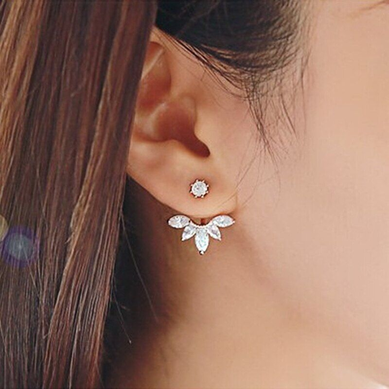 Cubic Zirconia Flower Stud Earrings For Women Girls Rose Gold Silver Color Alloy Female Small Earring Fashion Ear Jewelry Brinco