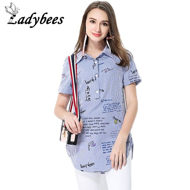 LADYBEES Plus size 5XL T-shirt Women Striped Printed Pattern Tops Loose Button Letter TEE 2017 Summer Shirts big size L - XXXXXL