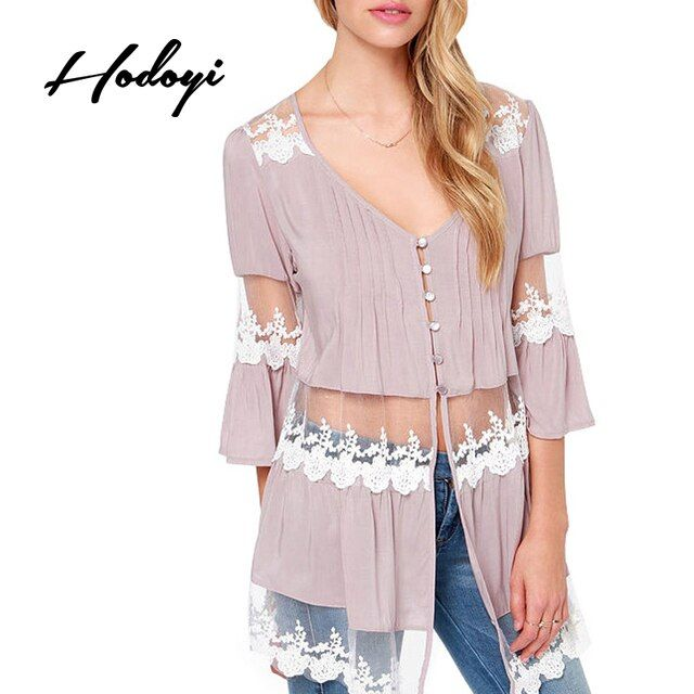 Hodoyi Mesh Sexy V Neck Lace Hollow Out Shirts Elegant 3/4 Sleeve Ladies Blouse Patchwork Single Breasted Sheer Chiffon Blouses