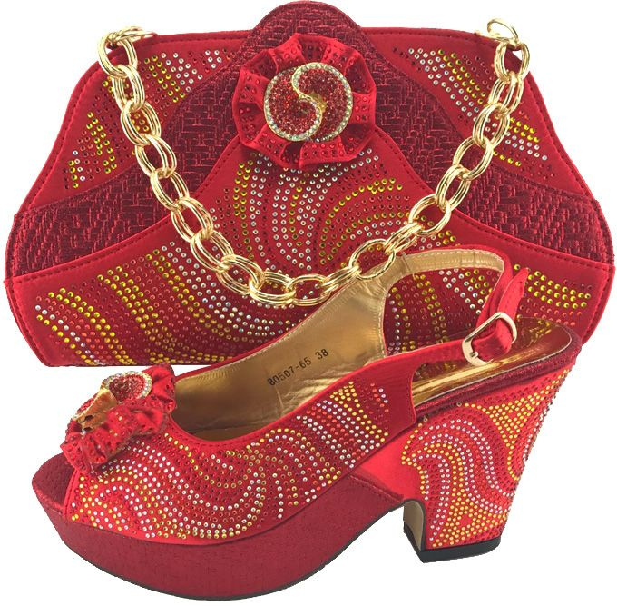 Red Color Elegant Shoes and Bag Women Italian Shoes with Matching Bags Ladies Shoe and Bag for African Women Wedding  ME7703