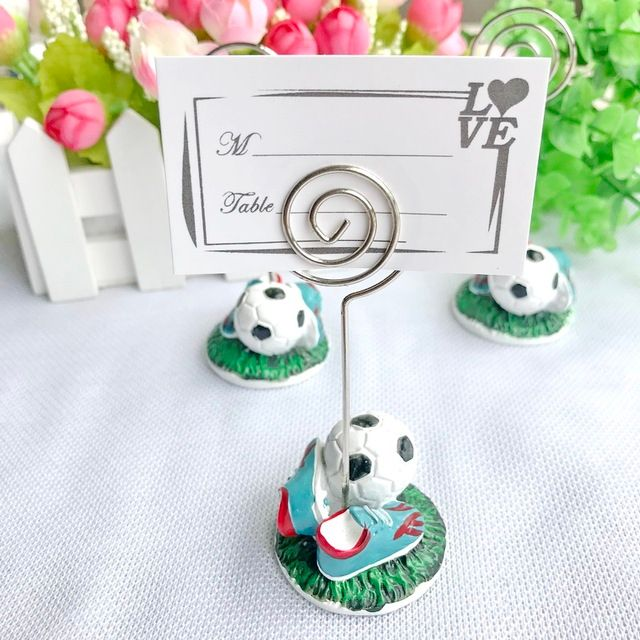 (10pcs/Lot)FREE SHIPPING+Sport Series Wedding Gift Football Design Place Card Holder Soccer Themed Party Decoration Favors