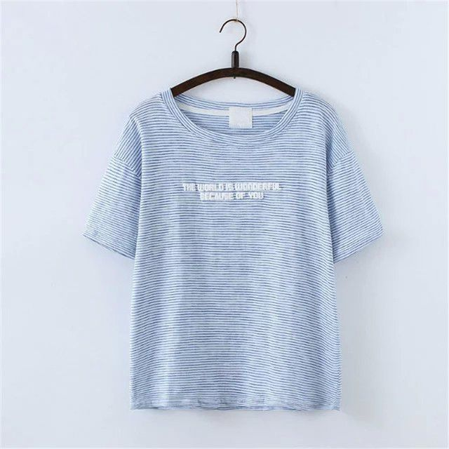 Cotton Striped Letters Printed Tops O-neck Short Sleeve T-Shirt Mori Girl 4652