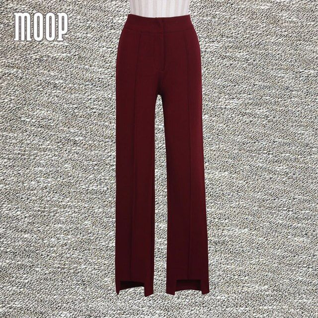 Wine red suit pants OL style high waist straight pants trousers full pants pantalon femme pantalones mujer LT587 free shipping