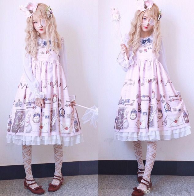2017 Japanese Cute Soft Sister Kawaii Print Women Dress Spaghetti Strap Fresh New Design Lolita Style Vintage Princess Dress