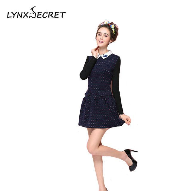 Winter Autumn Woman Dress Long sleeve Peter pan Collar Pleated Elegant Ladies clothing Knee-Length Cute fashion Dresses