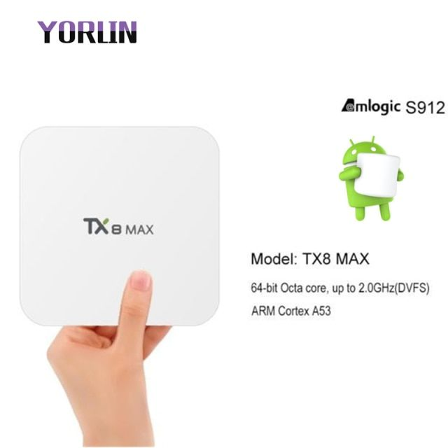 TX8 Max Smart Amlogic S912 Android6.0 3G 16G Bluetooth BT4.1 Android TV BOX Amlogic S912 Octa core ARM Cortex-A53 CPU up to 2GHz