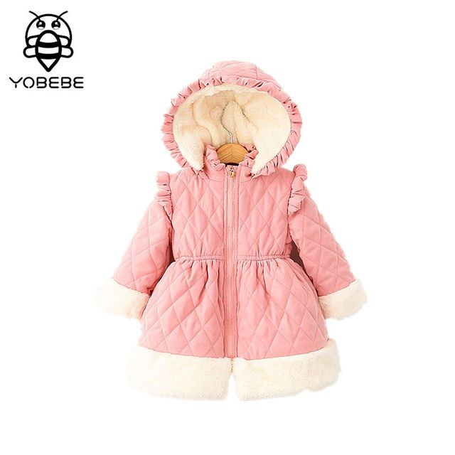 Girls Winter Clothing Kids Jacket Outerwear & Coats Kids Pink Hooded Cotton thick Long Warm outerwear Girls Christmas outwear