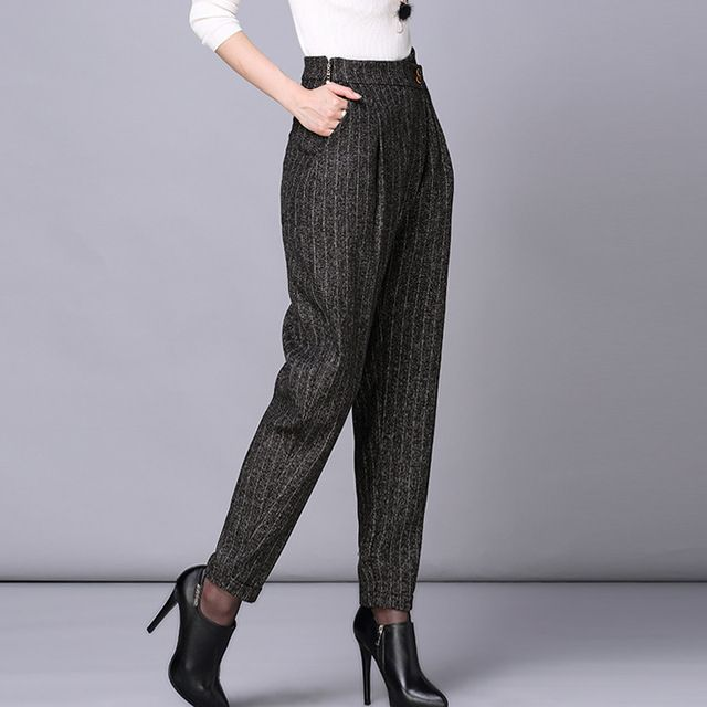 LOLEN New Fashion Pants High Waist Stripe Loose Waisted Haren Pants for Women