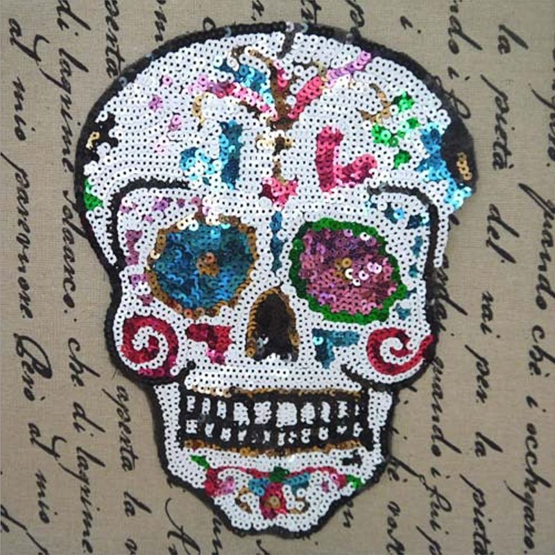 Hot sequins patch skull  DIY clothes patches for clothing sew-on embroidered military patch motif beaded applique crafts sticker