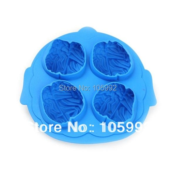 IceCube  Tray Maker Mold Tool Brain Shape Bar Party Drink  4 in 1 Brain Shaped Silicone Ice Mould 10PCS/LOT opp package