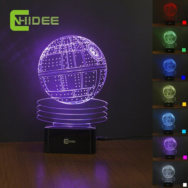7 Colors Changing Death Star Night Light 3D Lamp USB Novelty as Home Decor Bedroom Table Lampara for Star WARS Fans