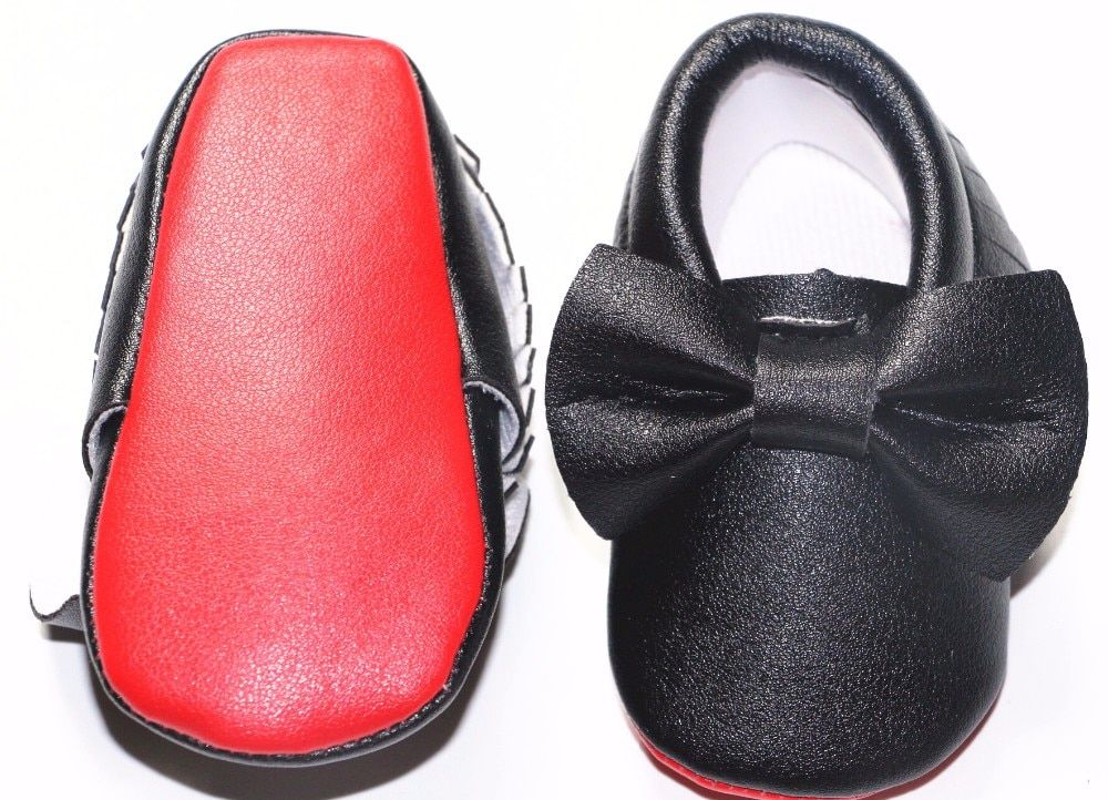 New brand Red sole PU Leather Newborn Baby Boy Girl Moccasins cut bow Soft soled Shoes Bebe Fringe Non-slip Footwear Crib Shoes