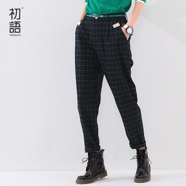 Toyouth Autumn Women Harem Pants Ankle-Length Loose Plaid Printed England Style Trousers Lady Mid Waist Casual Pants Plus Size