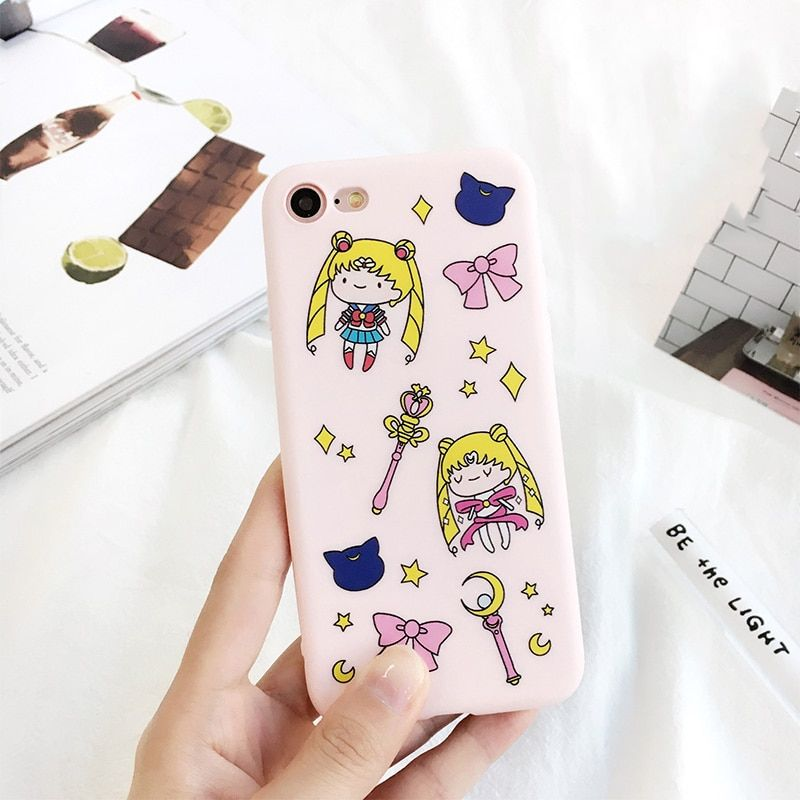 Sailor Moon Soft Pink Color Case  for iPhone 7 6 6s 4.7 5.5 plus Lovely Cute Cartoon Back Bling Star Magic Wand Bow Phone Cover