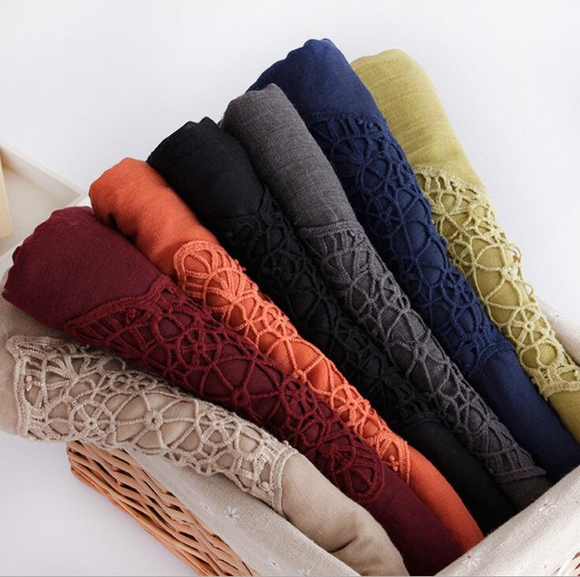 Hot selling design Fashion plain cotton scarf hijab hollow embroider beach floral muslim summer wrap scarves/shawls 10pcs/lot