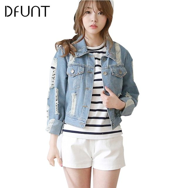 DFUNT Street Style Denim Jacket Women Ripped Hole Design Washed Short Brand Tops Fashion Navy Blue Turn-down Collar Pocket Coats