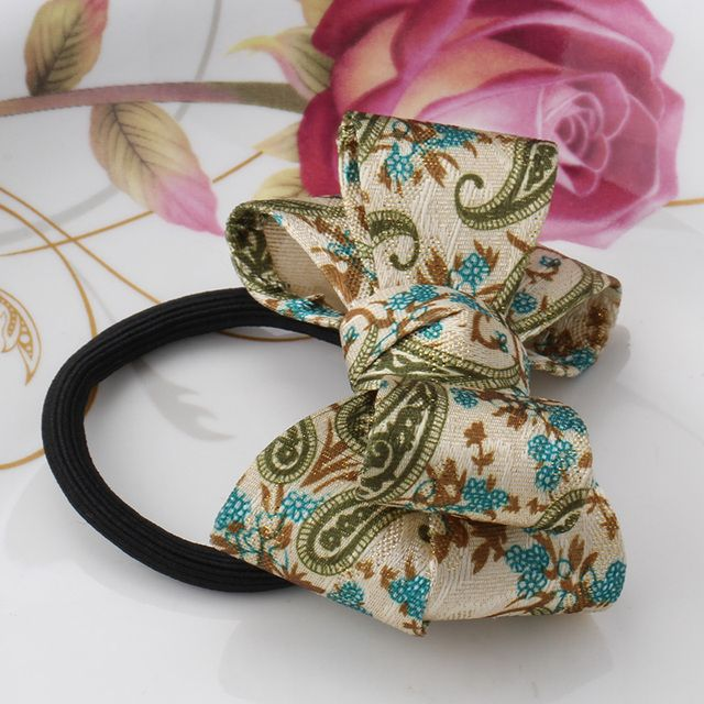M MISM New Arrival Korean Style Girls Hair Elastics Big Bow Dot Flora Ponytail Rubber Hair Rope Hair Accessories Scrunchy Women