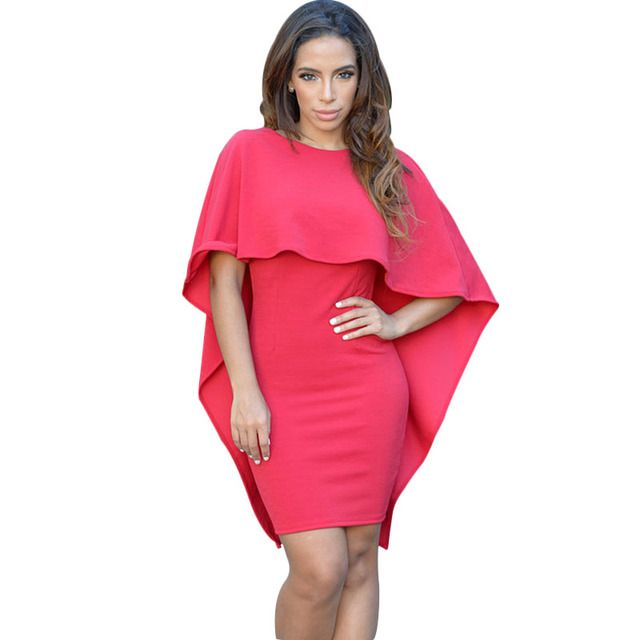 New Fashion Black Red White Batwing Sleeve Women Poncho Cape Cloak Dress Womens Casual Backless Bodycon Mini Dresses