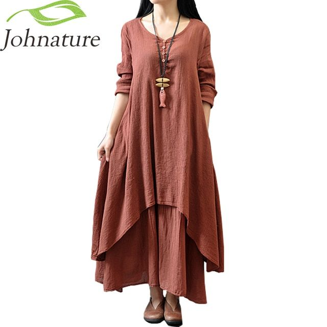 Johnature Cotton Color Women Maxi Dress 2017 Autumn New False Two-piece Long Sleeve Round Neck Loose Plus Size Irregular Dress