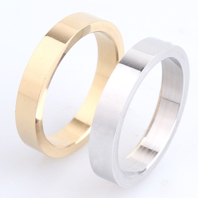 free shipping 4mm thick gold silver smooth plate 316L Stainless Steel finger rings for men women wholesale