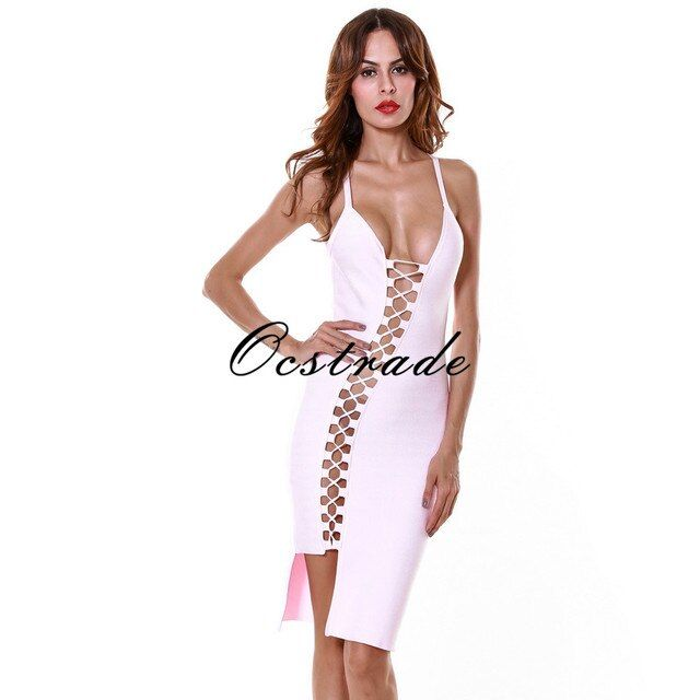 Bodycon Bandage Dresses 2016 New Arrival Spaghetti Strap High Quality Sexy Laceup Light Blue Pink Orange HL Bandage Dress Rayon