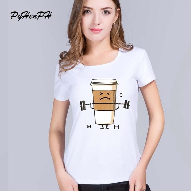New 2017 Cute Coffee T-shirt Women Funny Cup Weightlifting Print T Shirt Summer Style Casual Girl Short Sleeve Tees