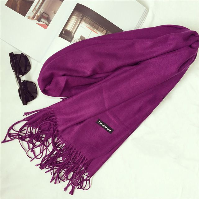 Shawls and Scarves Cashmere Cape Plain Winter Warm Scarf Luxury Brand Pashmina Soft Scarves Female Tassel Cashmere Women Scarf