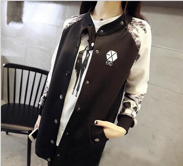Kpop exo Luhan Sehun clothing coat jacket baseball star autumn winter women Mens EXO Korean loose sweatshirt hoodie for women