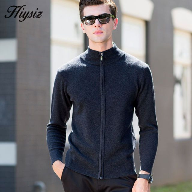 High Quality Zipper Turtleneck Knitwear Men Winter Thick Warm Cashmere Cardigan Men Brand Clothing Merino Wool Sweater Coat 6334