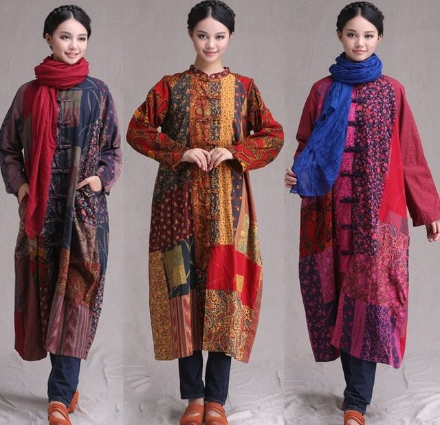 long Ethnic Tang suit han costume National trend women's chinese style cotton patchwork 100% big size outerwear trench jackets