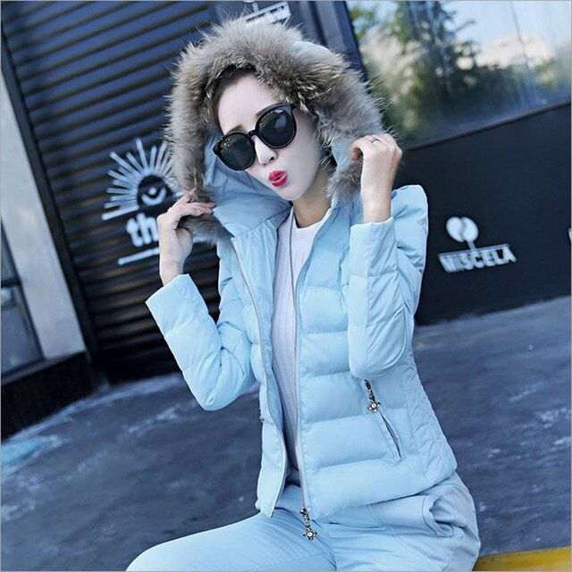 winter warm Women woolen down Jackets Coat and pants suits set parkas jackets coat suit 2 pieces suits sets jacket pants