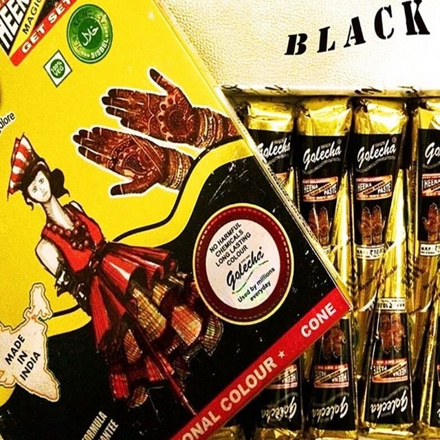 12 Pieces Golecha Black Indian Henna Tattoo Paste cone Body Art temporary fake finger tattoo henna design body paint kit 25g