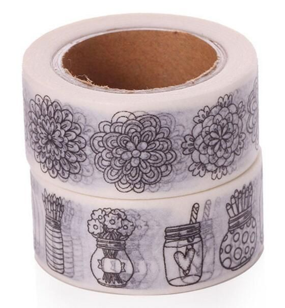2pcs /lot Doodle Color Flower Printing Washi Tape Stationery 2*10meter Kawaii Scrapbooking Tools Masking Tape Photo Album 6123