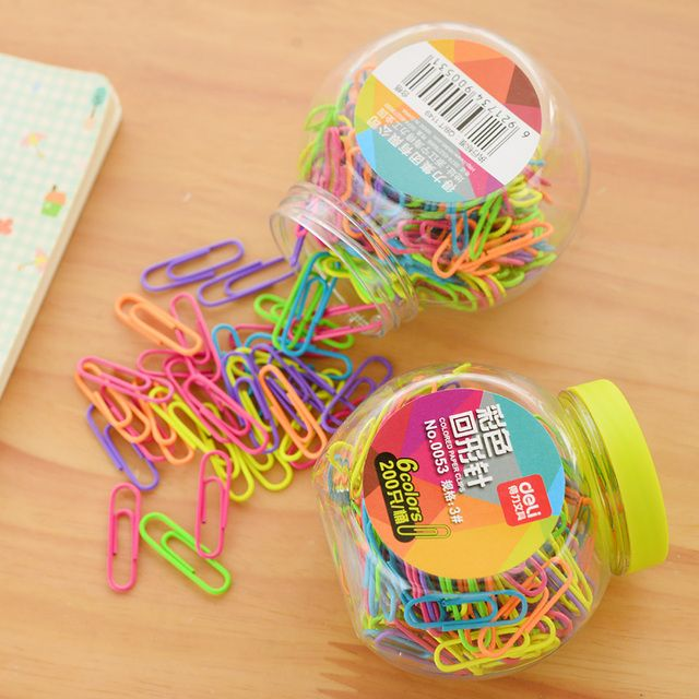 200pcs/barre 28x9mm  colourful paperclips clamp office clips  paper clips office stationery  office stationery accessories
